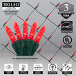 4' x 6' Red M5 LED Christmas Net Lights, 100 Lights on Green Wire