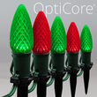C9 Green / Red OptiCore Christmas LED Pathway Lights, 50 Lights, 4.5 Inch Stakes, 50'