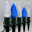 C9 Blue / Cool White OptiCore Christmas LED Pathway Lights, 50 Lights, 4.5 Inch Stakes, 50'