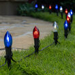 C9 Red / White / Blue FlexFilament TM Shatterproof Patriotic LED Pathway Lights, 15 Lights, 4.5 Inch Stakes, 15'