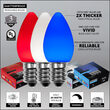 C7 Red / White / Blue Smooth OptiCore Patriotic LED Pathway Lights, 75 Lights, 4.5 Inch Stakes, 75'