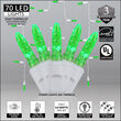 70 Green M5 LED Icicle Lights on White Wire
