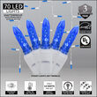 70 Blue M5 LED Icicle Lights on White Wire