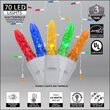 70 Multicolor M5 LED Icicle Lights on White Wire