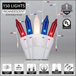 150 Red, White and Blue Mini Icicle Light Set, White Wire