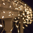 70 Warm White M5 LED Icicle Lights on White Wire