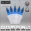 100 Blue Mini Icicle Lights on White Wire