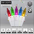 100 Multicolor Mini Icicle Lights on White Wire