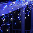 70 Blue, White M5 LED Icicle Lights on White Wire