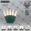 4' x 6' White Frost Mini Christmas Net Lights, 150 Lights on Green Wire