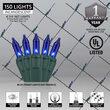 4' x 6' Blue Mini Christmas Net Lights, 150 Lights on Green Wire