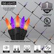 4' x 6' Purple, Orange Mini Christmas Net Lights, 150 Lights on Black Wire