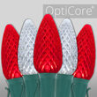 C9 Cool White / Red OptiCore Commercial LED Christmas Lights, 50 Lights, 50'