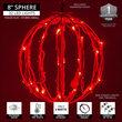 """8"""" Red LED Light Ball, Fold Flat Red Frame"""