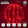 "8"" Red LED Fairy Light Ball, Fold Flat Red Frame"