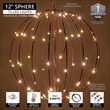 "12"" Warm White LED Fairy Light Ball, Fold Flat Brown Frame"