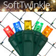 4' x 6' Multicolor SoftTwinkle 5mm LED Christmas Net Lights, 70 Lights on Green Wire