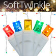 70 Multicolor SoftTwinkle 5mm LED Icicle Lights on White Wire