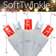 70 Cool White, Red SoftTwinkle 5mm LED Icicle Lights on White Wire