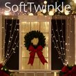 "150 SoftTwinkle TM LED Curtain Lights, 66"" Drops, 150 Warm White Lights, White Wire"