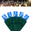 5mm SoftTwinkle Wide Angle Blue LED Christmas Lights on Green Wire
