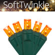 5mm SoftTwinkle Wide Angle Amber LED Christmas Lights on Green Wire