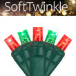 5mm SoftTwinkle Wide Angle Red, Green LED Christmas Lights on Green Wire