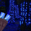 """20"""" x 45"""" Blue StretchNet Pro 5mm LED Christmas Trunk Wrap Lights, 50 Lights on Brown Wire"""