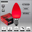 C7 Red Smooth OptiCore Commercial LED Christmas Lights, 25 Lights, 25'