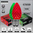 C7 Green / Red OptiCore Commercial LED Christmas Lights, 100 Lights, 100'