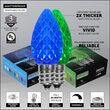 C7 Blue / Green OptiCore Commercial LED Christmas Lights, 50 Lights, 50'