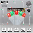 70 Green, Red SoftTwinkle 5mm LED Icicle Lights on White Wire