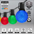 25' Multicolor OptiCore LED Patio String Light Set with 25 G50 Bulbs on Black Wire, E17 Base