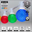25' Multicolor OptiCore LED Patio String Light Set with 25 G50 Bulbs on White Wire, E12 Base