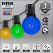 37' Multicolor FlexFilament Acrylic LED Patio String Light Set with 25 G50 Bulbs on Black Wire, E12 Base