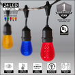 54' Commercial Multicolor LED Patio String Light Set with 24 S14 Bulbs on Black Wire, with Drops