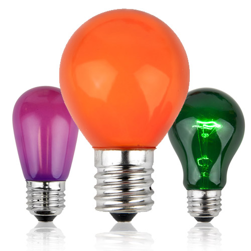 Green, Purple and Orange Halloween Light Bulbs