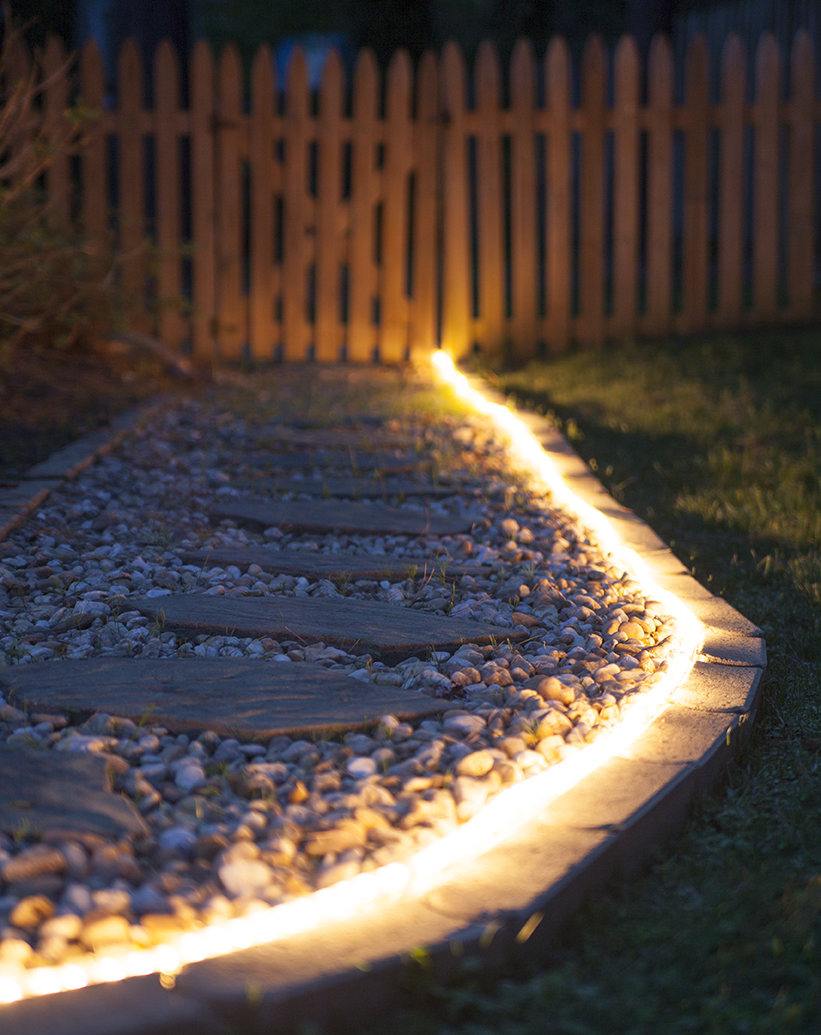 Walkway Outlined with Warm White LED Rope Light
