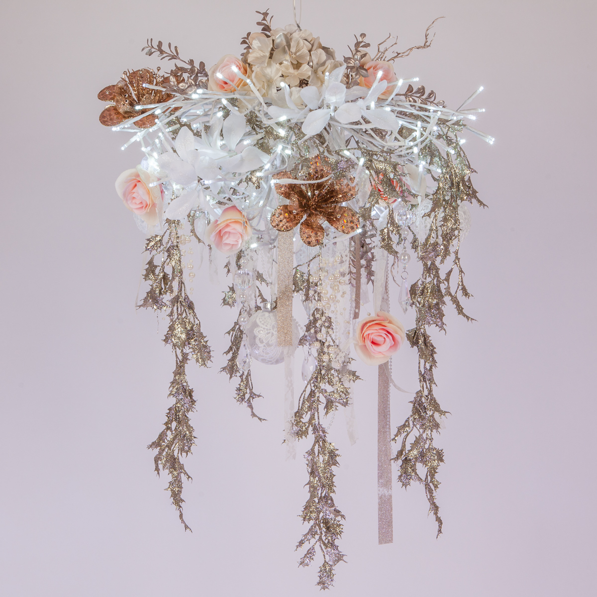 DIY Chandelier Wedding Decoration With Lighted Branches