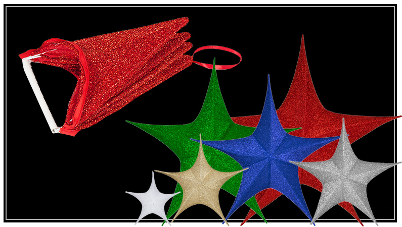 Unlit Fold-Flat Christmas Star Decorations