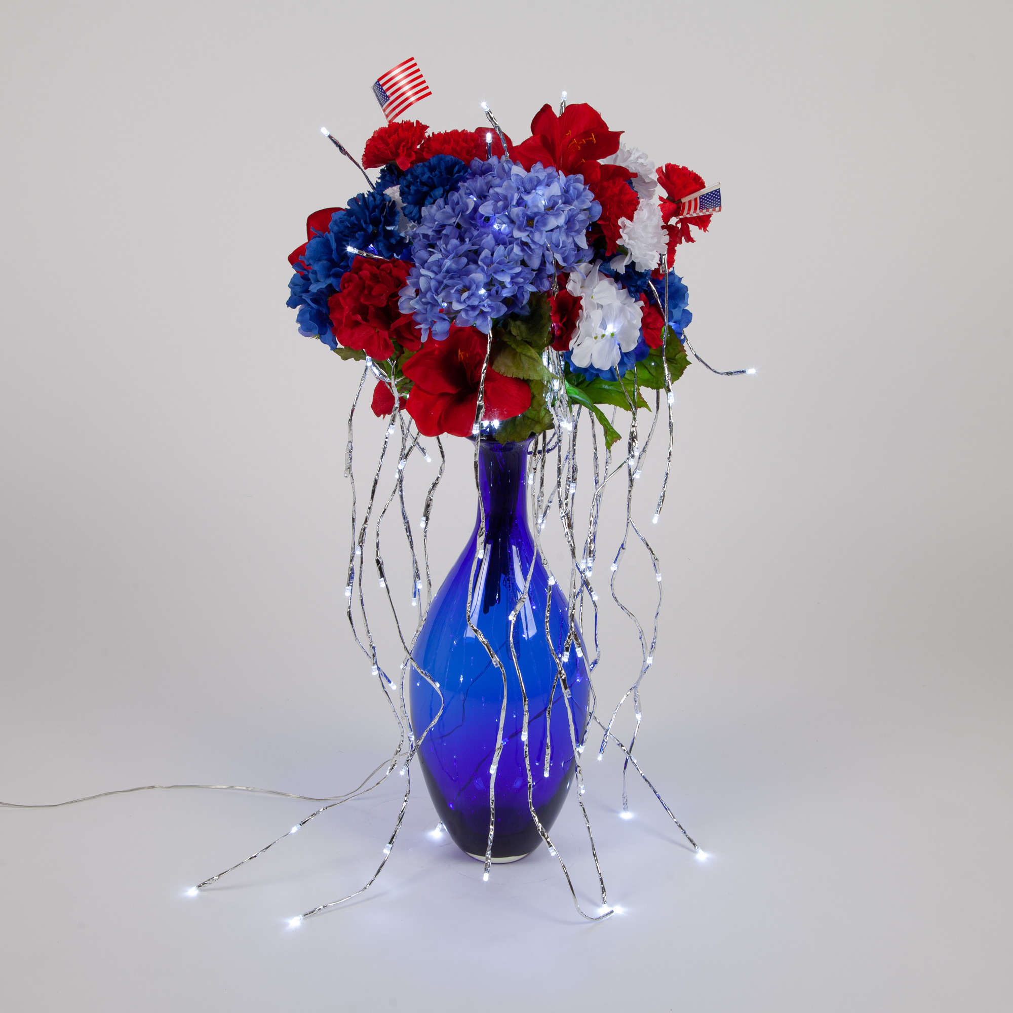 Willow Lighted Branches Patriotic Vase Decor