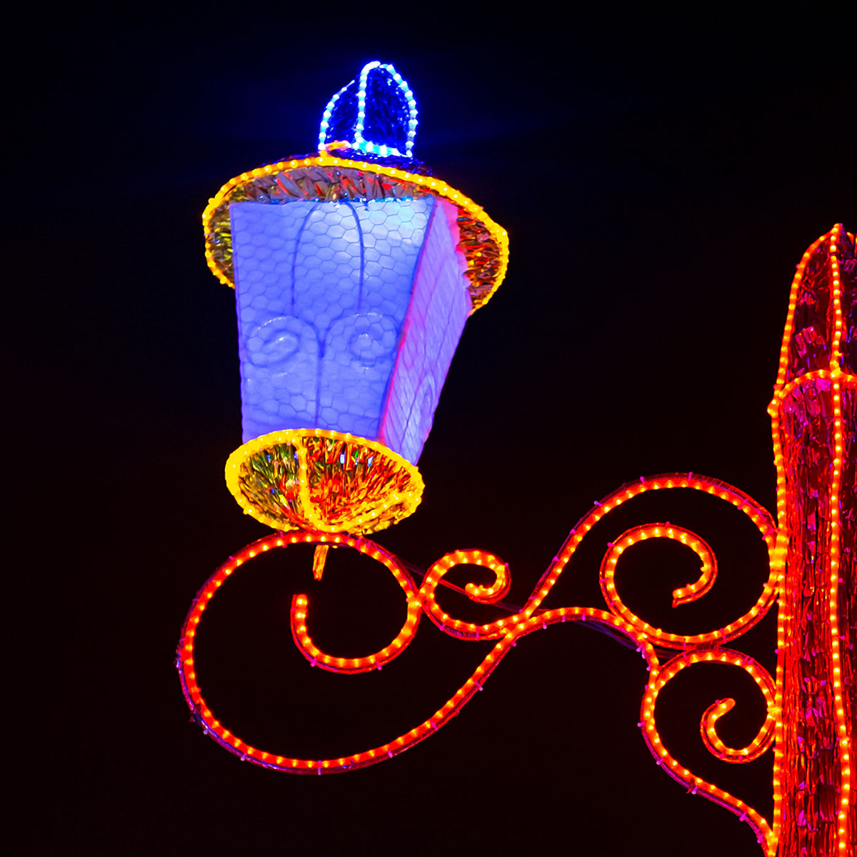 Street Lamp Decorated With Rope Light